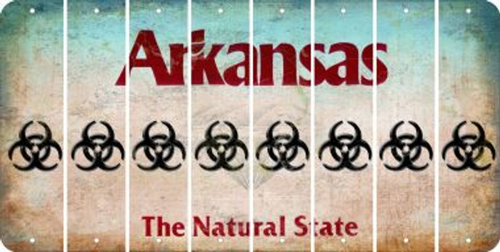 Arkansas BIO HAZARD Cut License Plate Strips (Set of 8) LPS-AR1-084