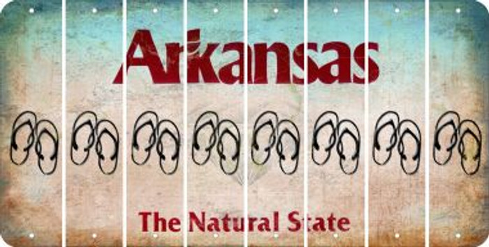 Arkansas FLIP FLOPS Cut License Plate Strips (Set of 8) LPS-AR1-085