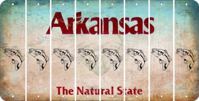 Arkansas FISH Cut License Plate Strips (Set of 8) LPS-AR1-086