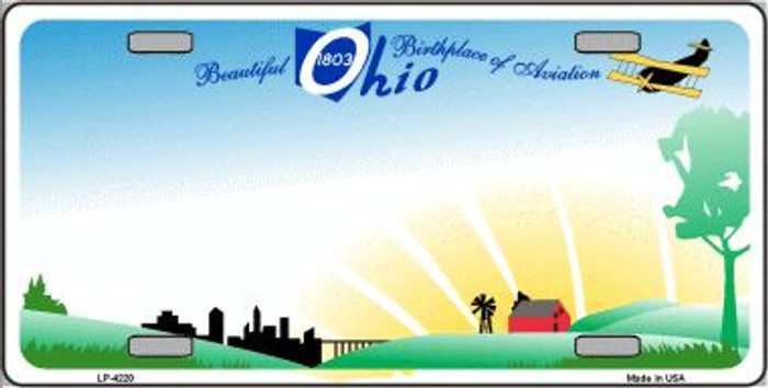 Ohio Novelty State Background Wholesale Metal Novelty License Plate LP-4220