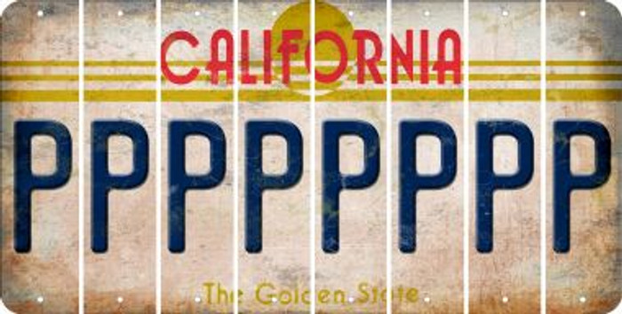 California P Cut License Plate Strips (Set of 8) LPS-CA1-016