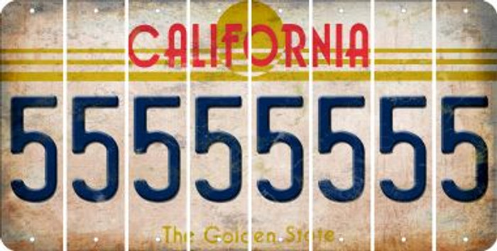 California 5 Cut License Plate Strips (Set of 8) LPS-CA1-032