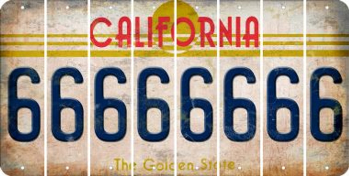 California 6 Cut License Plate Strips (Set of 8) LPS-CA1-033