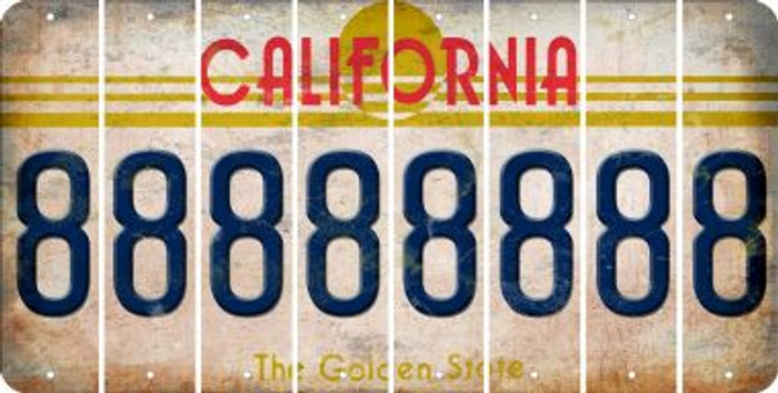 California 8 Cut License Plate Strips (Set of 8) LPS-CA1-035