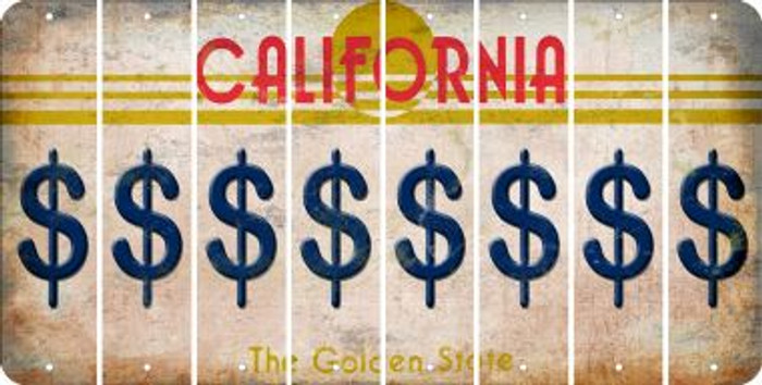 California DOLLAR SIGN Cut License Plate Strips (Set of 8) LPS-CA1-040