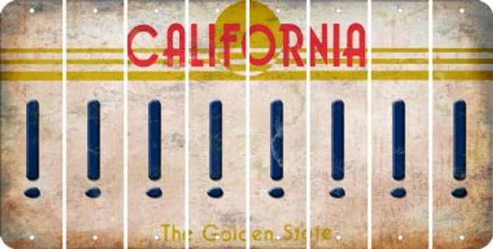 California EXCLAMATION POINT Cut License Plate Strips (Set of 8) LPS-CA1-041