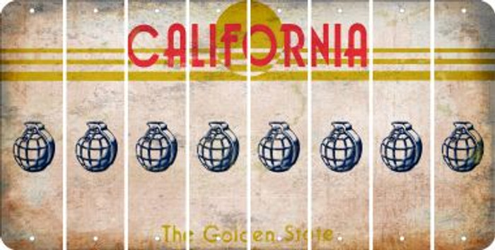 California HAND GRENADE Cut License Plate Strips (Set of 8) LPS-CA1-050