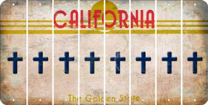 California CROSS Cut License Plate Strips (Set of 8) LPS-CA1-083