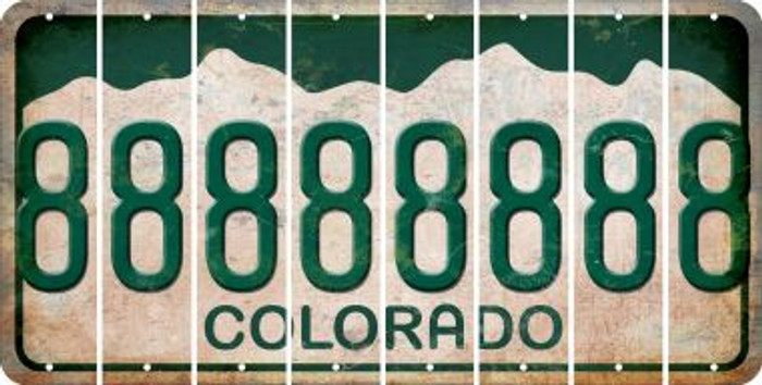 Colorado 8 Cut License Plate Strips (Set of 8) LPS-CO1-035