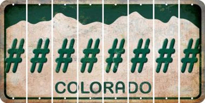 Colorado HASHTAG Cut License Plate Strips (Set of 8) LPS-CO1-043