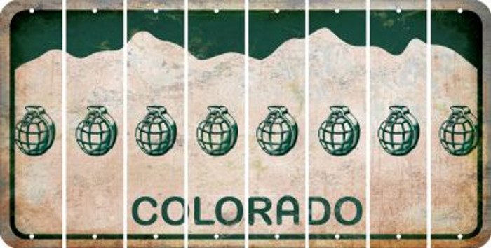 Colorado HAND GRENADE Cut License Plate Strips (Set of 8) LPS-CO1-050
