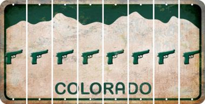Colorado HANDGUN Cut License Plate Strips (Set of 8) LPS-CO1-051