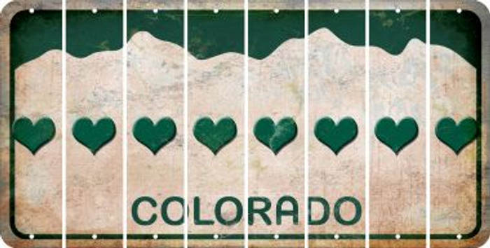 Colorado HEART Cut License Plate Strips (Set of 8) LPS-CO1-081