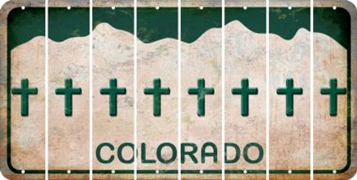 Colorado CROSS Cut License Plate Strips (Set of 8) LPS-CO1-083