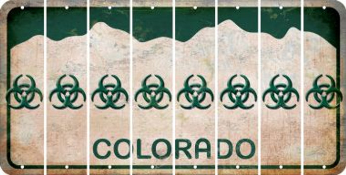 Colorado BIO HAZARD Cut License Plate Strips (Set of 8) LPS-CO1-084