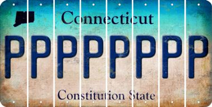 Connecticut P Cut License Plate Strips (Set of 8) LPS-CT1-016