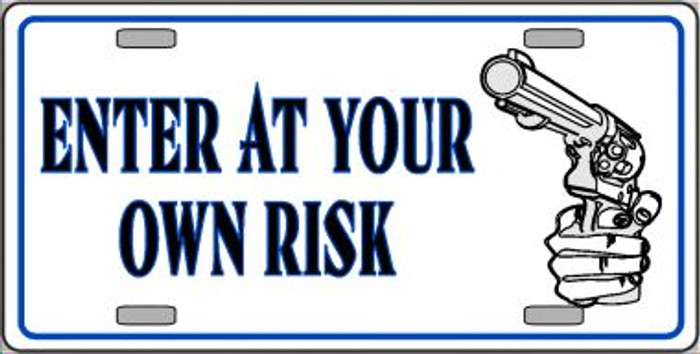Enter At Own Risk Wholesale Metal Novelty License Plate LP-425