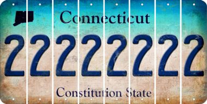 Connecticut 2 Cut License Plate Strips (Set of 8) LPS-CT1-029