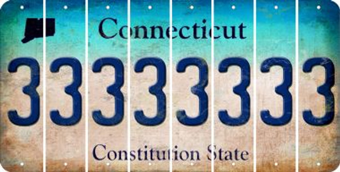 Connecticut 3 Cut License Plate Strips (Set of 8) LPS-CT1-030