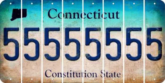 Connecticut 5 Cut License Plate Strips (Set of 8) LPS-CT1-032