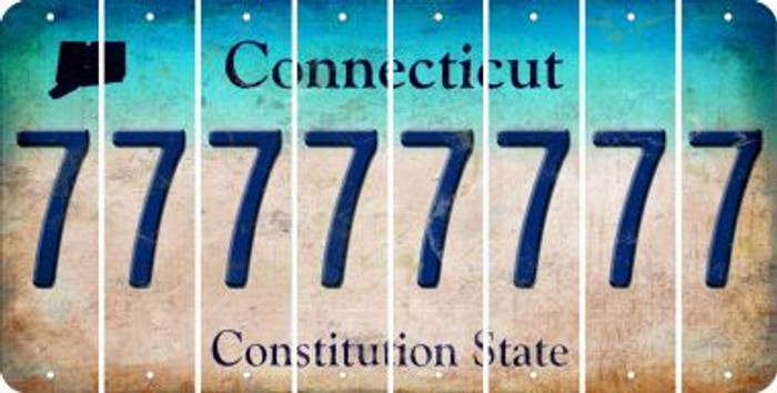 Connecticut 7 Cut License Plate Strips (Set of 8) LPS-CT1-034