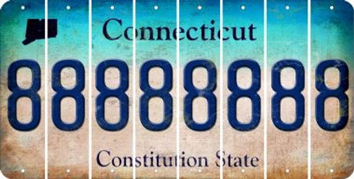 Connecticut 8 Cut License Plate Strips (Set of 8) LPS-CT1-035
