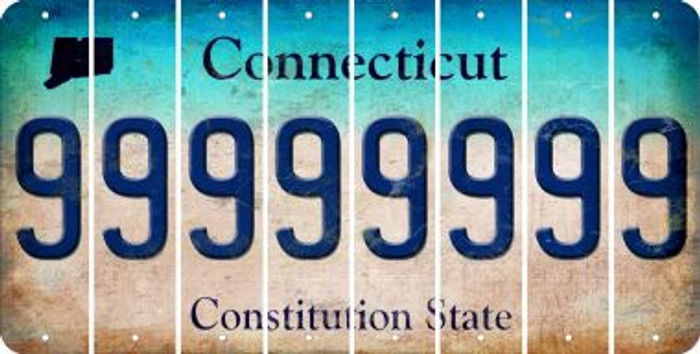 Connecticut 9 Cut License Plate Strips (Set of 8) LPS-CT1-036
