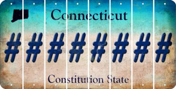 Connecticut HASHTAG Cut License Plate Strips (Set of 8) LPS-CT1-043