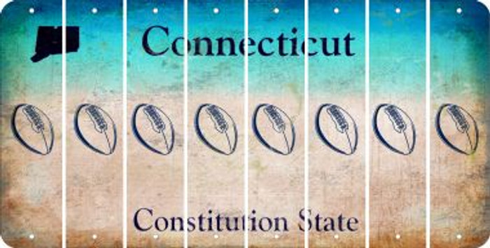 Connecticut FOOTBALL Cut License Plate Strips (Set of 8) LPS-CT1-060