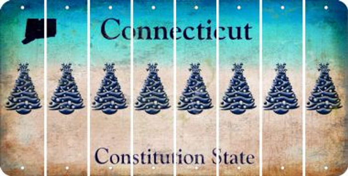 Connecticut CHRISTMAS TREE Cut License Plate Strips (Set of 8) LPS-CT1-077