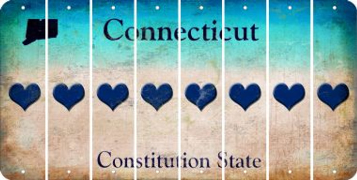 Connecticut HEART Cut License Plate Strips (Set of 8) LPS-CT1-081