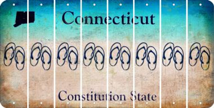 Connecticut FLIP FLOPS Cut License Plate Strips (Set of 8) LPS-CT1-085