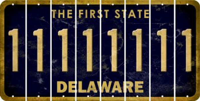 Delaware 1 Cut License Plate Strips (Set of 8) LPS-DE1-028