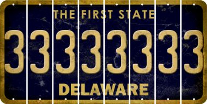 Delaware 3 Cut License Plate Strips (Set of 8) LPS-DE1-030