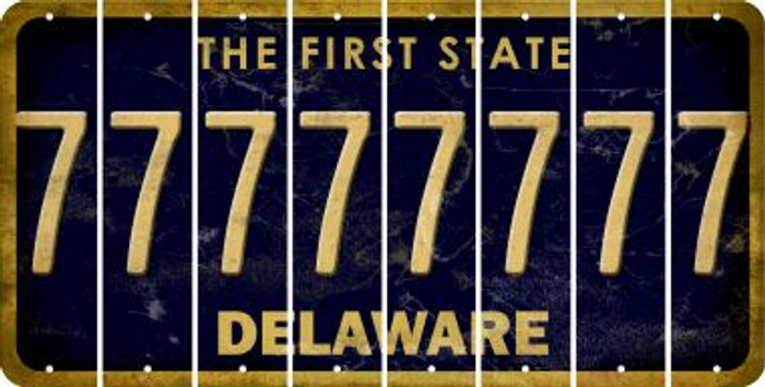 Delaware 7 Cut License Plate Strips (Set of 8) LPS-DE1-034