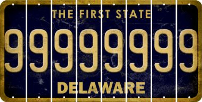 Delaware 9 Cut License Plate Strips (Set of 8) LPS-DE1-036