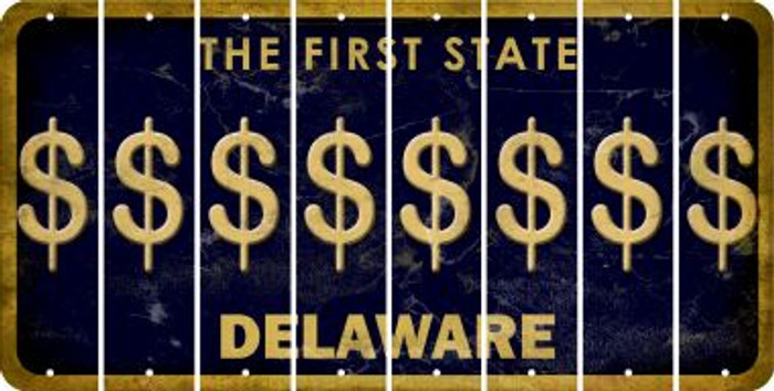 Delaware DOLLAR SIGN Cut License Plate Strips (Set of 8) LPS-DE1-040