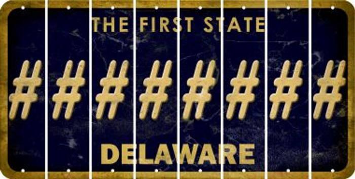 Delaware HASHTAG Cut License Plate Strips (Set of 8) LPS-DE1-043