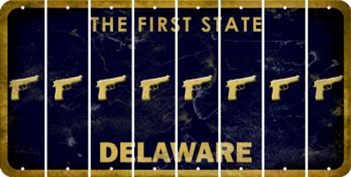 Delaware HANDGUN Cut License Plate Strips (Set of 8) LPS-DE1-051