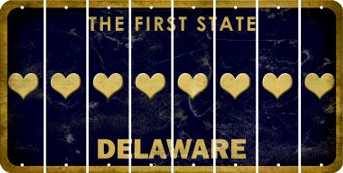 Delaware HEART Cut License Plate Strips (Set of 8) LPS-DE1-081