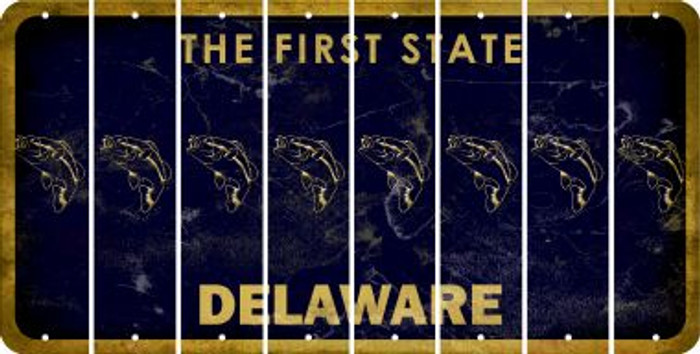Delaware FISH Cut License Plate Strips (Set of 8) LPS-DE1-086