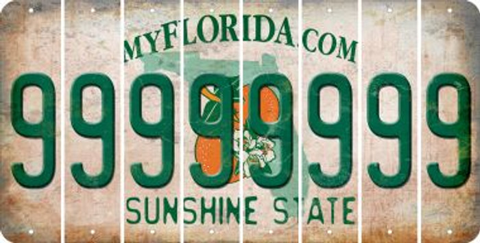 Florida 9 Cut License Plate Strips (Set of 8) LPS-FL1-036