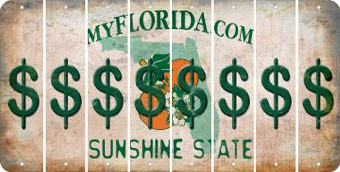 Florida DOLLAR SIGN Cut License Plate Strips (Set of 8) LPS-FL1-040