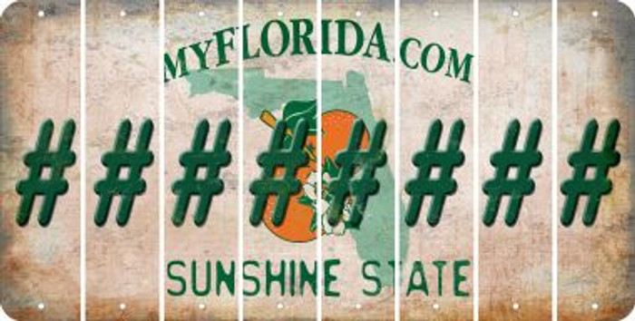 Florida HASHTAG Cut License Plate Strips (Set of 8) LPS-FL1-043