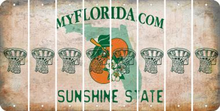 Florida BASKETBALL HOOP Cut License Plate Strips (Set of 8) LPS-FL1-058