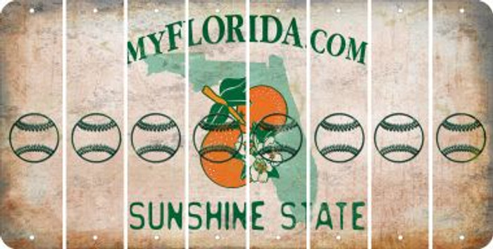Florida BASEBALL / SOFTBALL Cut License Plate Strips (Set of 8) LPS-FL1-063