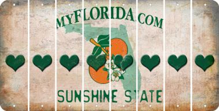 Florida HEART Cut License Plate Strips (Set of 8) LPS-FL1-081