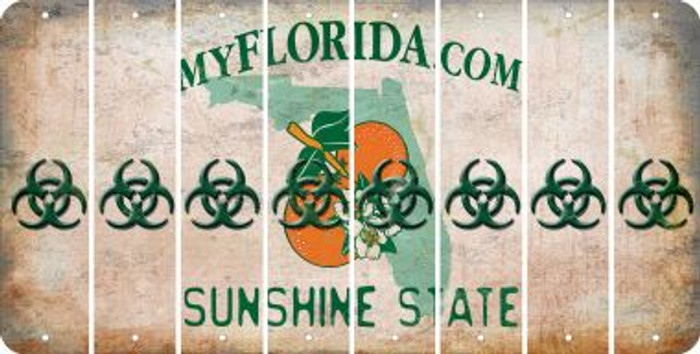 Florida BIO HAZARD Cut License Plate Strips (Set of 8) LPS-FL1-084