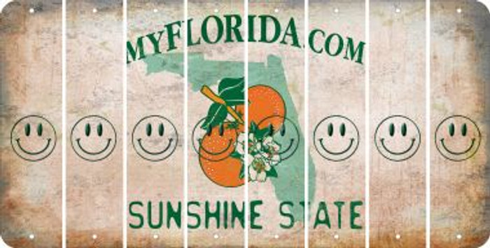 Florida SMILEY FACE Cut License Plate Strips (Set of 8) LPS-FL1-089
