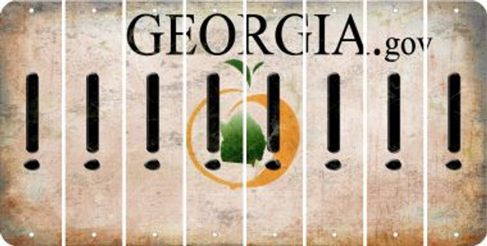 Georgia EXCLAMATION POINT Cut License Plate Strips (Set of 8) LPS-GA1-041
